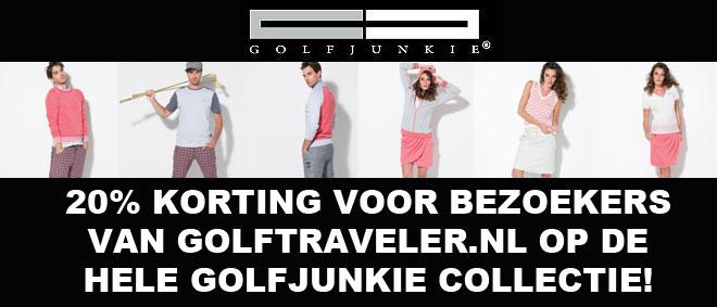 Speciaal voor bezoekers van Golftraveler.nl 20% korting op de hele collectie van Golfjunkie