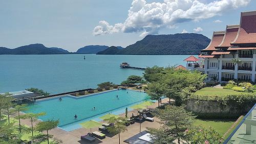 Het hotel van het Gunung Raya Golf Resort heeft een betovrend uitzicht